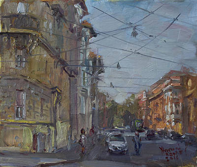 Urban Street Painting - Late Afternoon Light - Regina Margherita -rome by Ylli Haruni