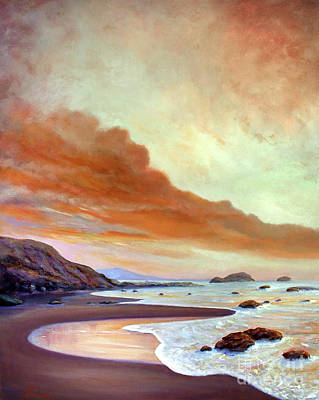 Painting - Late Afternoon On San Simeon Beach by Michael Rock