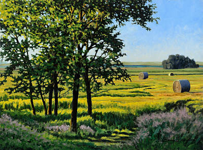 Bales Painting - Late Afternoon Pasture by Bruce Morrison