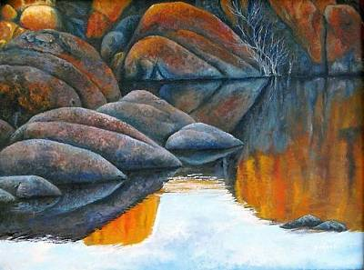 Watson Lake Painting - Late Afternoon Reflections by Gus Lopez