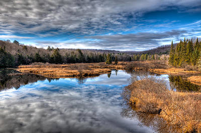 Fir Trees Photograph - Late Autumn At The Green Bridge by David Patterson