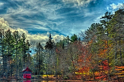 Landscape Photograph - Late Autumn At The Red Boathouse by David Patterson