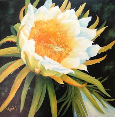 Night Blooming Cereus Painting - Late Bloomer by Carol Reynolds