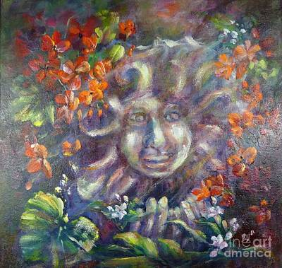 Painting - Late Day Sun. Geranium Garden by Ryn Shell