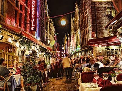 Late Diners On Rue Des Bouchers Art Print by John K Woodruff