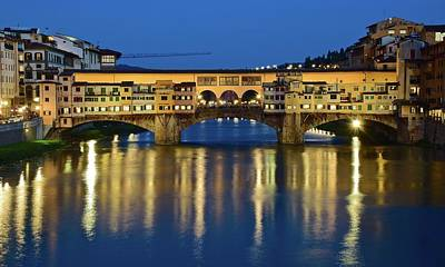 Photograph - Late Evening At The Ponte Vecchio by Frozen in Time Fine Art Photography