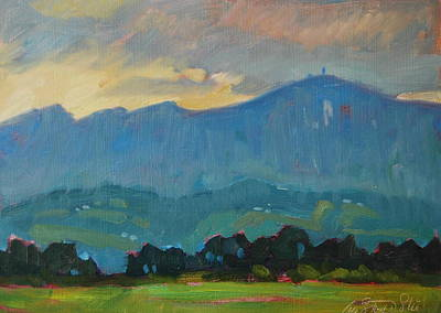 Tree At Sunset Painting - Late Evening On Greylock by Len Stomski