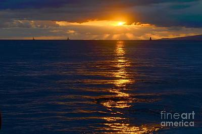 Abstract Graphics - Late Evening Sunset Waikiki Hawaii - 21 by Mary Deal