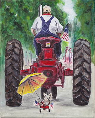 Forth Of July Painting - Late For The Parade by Robin Wiesneth