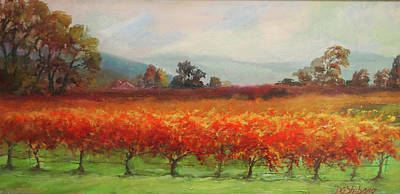 Napa Valley Vineyard Painting - Late Harvest Napa Vineyards by Deirdre Shibano