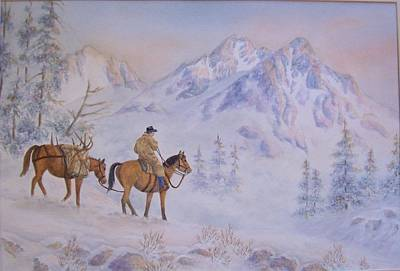 Late Hunt - In The Sawtooth Mountains Art Print by Cherry Woodbury