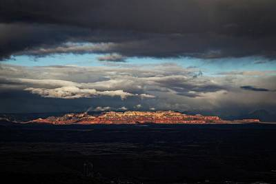 Art Print featuring the photograph Late Light On Red Rocks With Storm Clouds by Ron Chilston