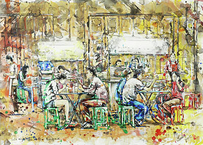 Bangkok Painting - Late Night Diners, Bangkok by Gordon Tardio