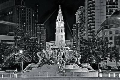 Photograph - Late Night Fountain Light by Frozen in Time Fine Art Photography