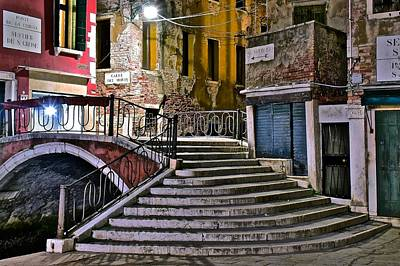 Late Night In Venice Art Print by Frozen in Time Fine Art Photography