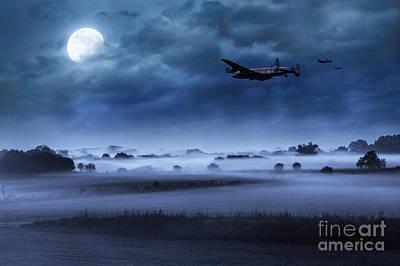 Under The Moon Wall Art - Digital Art - Late Night Lancasters by J Biggadike