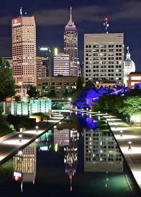 Photograph - Late Night Reflection In Indy by Frozen in Time Fine Art Photography