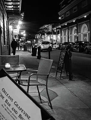 Photograph - Late Night Sidewalk Cafe - New Orleans - B/w by Greg Jackson