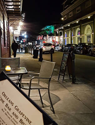 Late Night Sidewalk Cafe - New Orleans Art Print by Greg Jackson