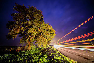 Photograph - Late Night Texas Country Road Traffic Light Trails by Micah Goff