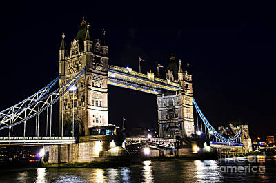 Tower Bridge London Photograph - Late Night Tower Bridge by Elena Elisseeva