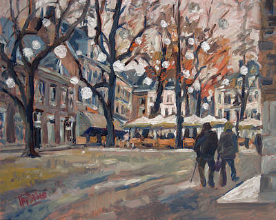Impressionist Painting - Late November At The Our Lady Square Maastricht by Nop Briex