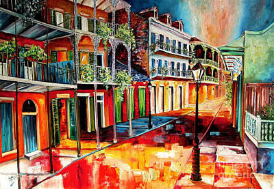 New Orleans Oil Painting - Late On Royal Street by Diane Millsap