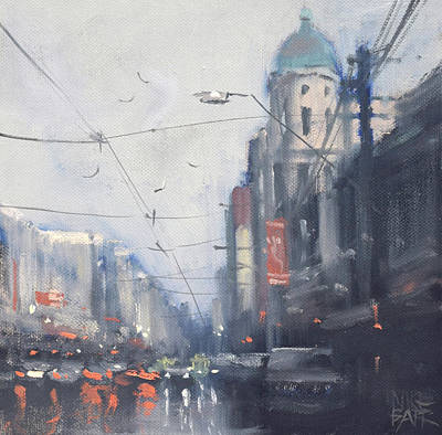 Wall Art - Painting - Late Rain - Chapel Street by Mike Barr