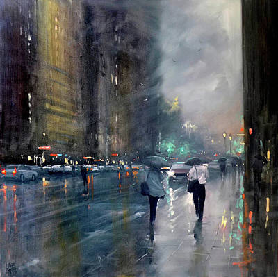 Painting - Late Rain - Waymouth Street by Mike Barr