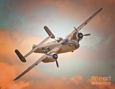 Late Return,north American B-25 Mitchell  Art Print by Gus McCrea