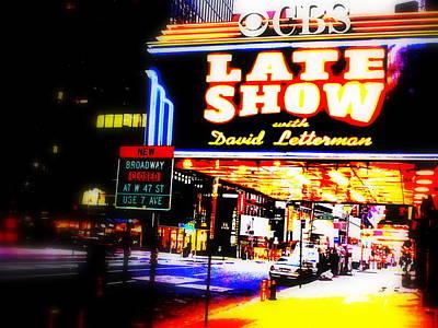 Late Show On Manhattan's Broadway Art Print by Funkpix Photo Hunter