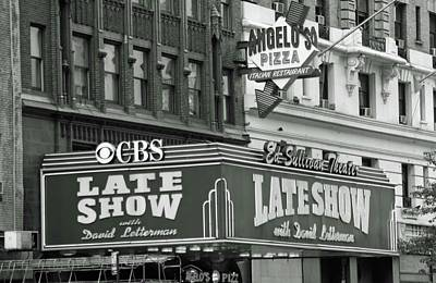 Photograph - Late Show With David Letterman Marquee 01 Bw - New York by Pamela Critchlow