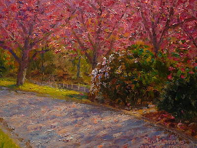 Nz.impressionist Painting - Late Spring Blossom by Terry Perham