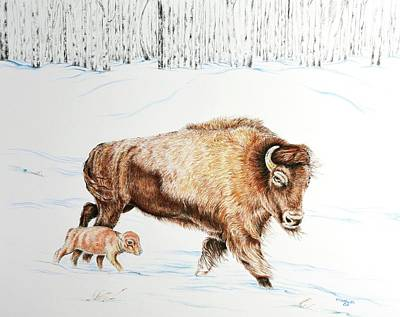 Bison Mixed Media - Late Spring by Elizabeth Cox