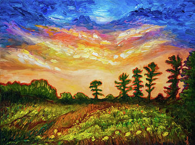 Painting - Late Summer Sunset Sky In New England by Lilia D