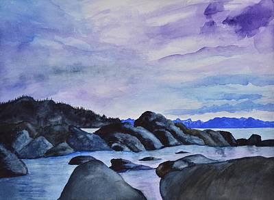 Late Sunset At The Lake I Art Print by Linda Brody