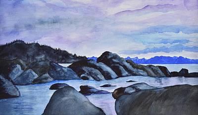 Late Sunset At The Lake II Art Print by Linda Brody