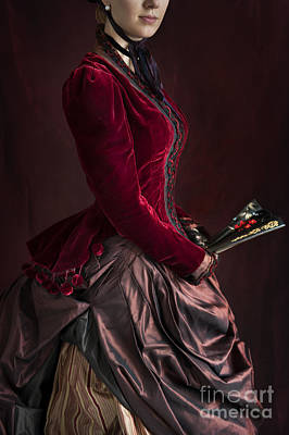 1880s Photograph - Late Victorian Woman In A Crimson Velvet Jacket And Silk Skirt H by Lee Avison