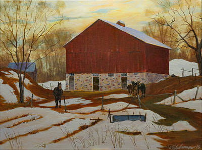 Painting - Late Winter At The Farm by David Gilmore