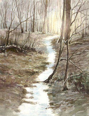 Painting - Late winter in the woods by Erik Lundgren