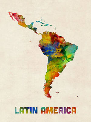 South America Digital Art - Latin America Watercolor Map by Michael Tompsett