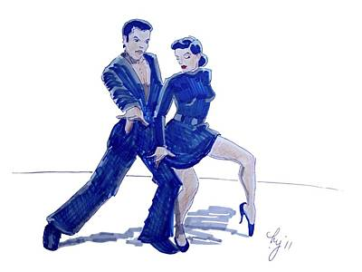 Drawing - Latin Ballroom by Mike Jory