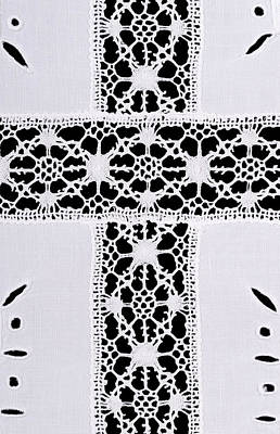 Reticello Photograph - Latin Cross Motif In Whitework Embroidery Linen Tablecloth by Peter Hermes Furian