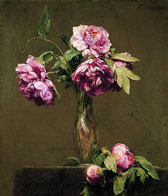 Rose Painting - Latour Roses Foncees by Henri Fantin
