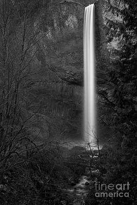 Photograph - Latourell Falls Black And White by Adam Jewell