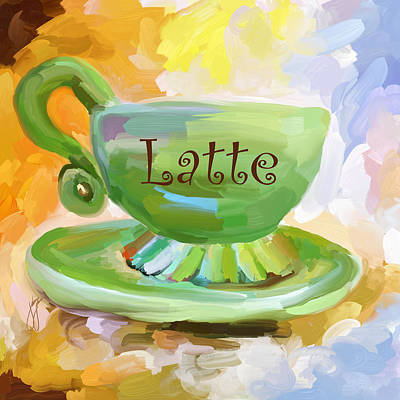 Painting - Latte Coffee Cup by Jai Johnson