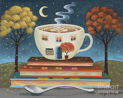 Folk Art Painting - Latte Library  by Mary Charles