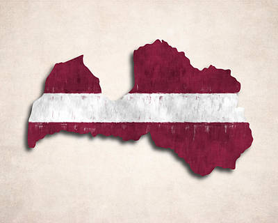 Eastern Europe Digital Art - Latvia Map Art With Flag Design by World Art Prints And Designs