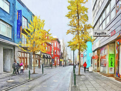Digital Art - Laugavegur Street In Downtown Reykjavik by Digital Photographic Arts