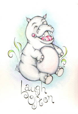 Hippopotamus Mixed Media - Laugh Often by Adrienne Allen